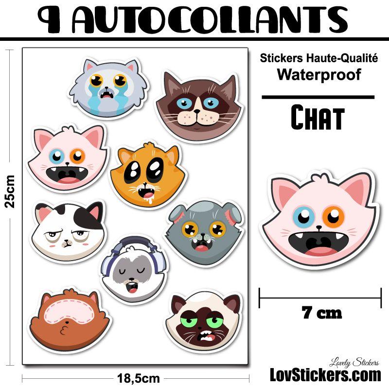 9 stickers têtes de chats