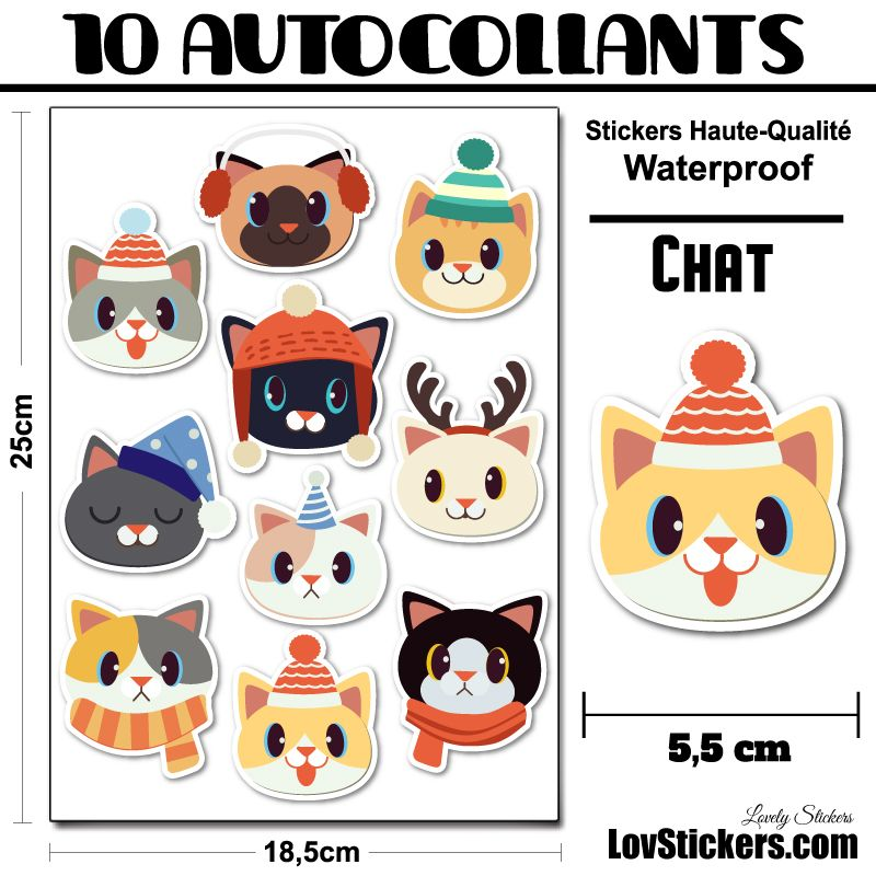 10 stickers de chats