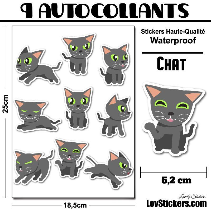 9 stickers de chats gris