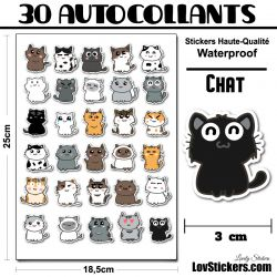 30 mini stickers de Chats