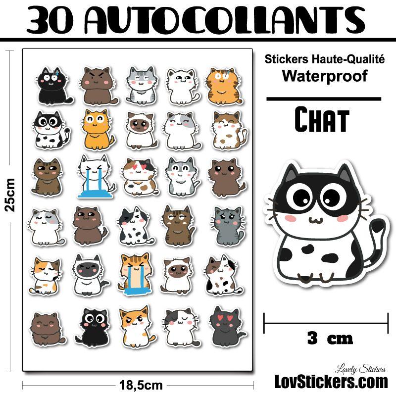 30 mini stickers de Chats