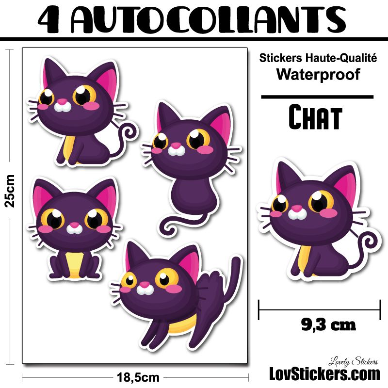 30 ou 4 stickers de Chats Violet