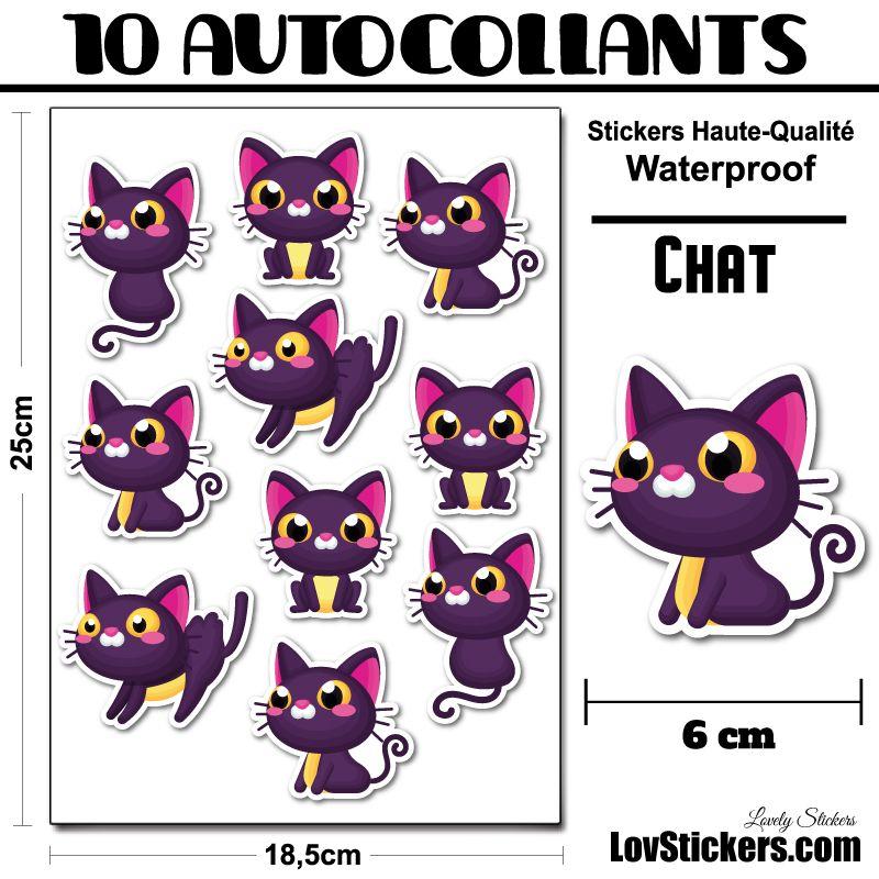 30 ou 4 stickers de Chats Violet
