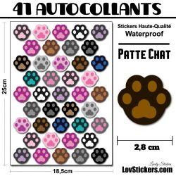 41 stickers de pattes de chat multicouleurs