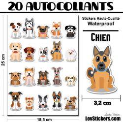 20 stickers de Petits Chiens - Série 01