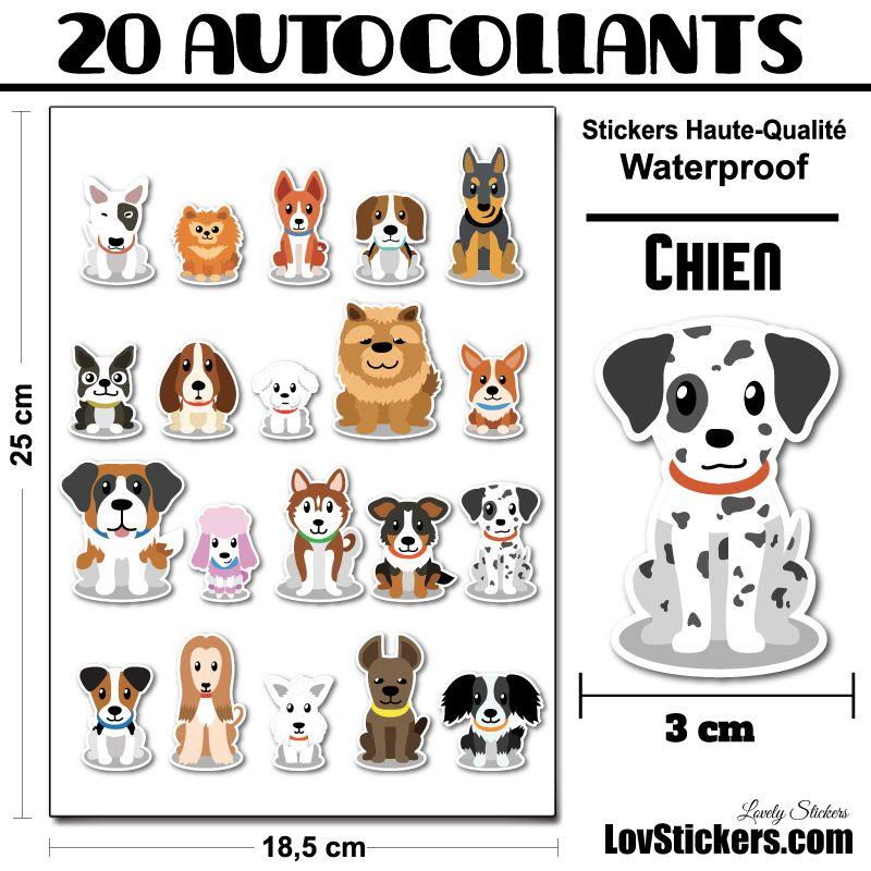 20 stickers de Petits Chiens - Série 02