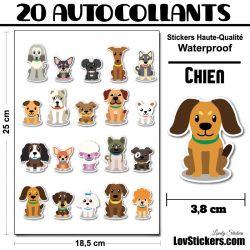 20 stickers de Petits Chiens - Série 03