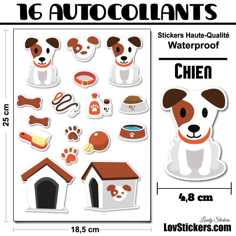 16 stickers de Chiens et Accessoires - Serie Jack Russell