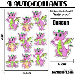 9 et 4  Autocollants Dinosaures