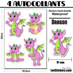4 Autocollants Dragons