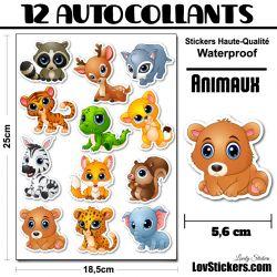 12 Autocollants d'animaux Cute Série 1