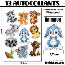 10 Autocollants d'animaux Cute Série 2