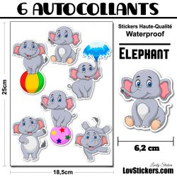 6 Autocollants d'Elephants au cirque