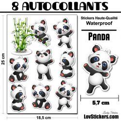 8 autocollants de Panda