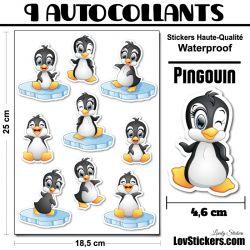 9 autocollants de Pingouin