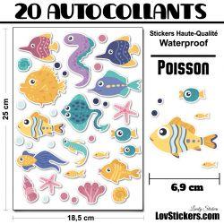 20 Autocollants de poissons