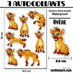 7 Autocollants de Hyènes