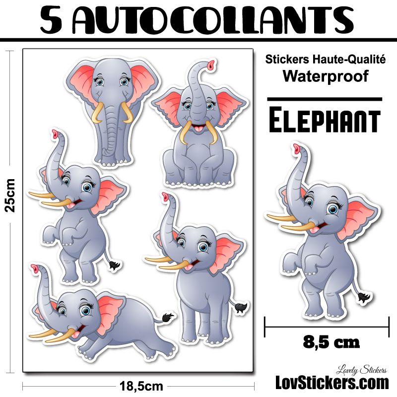 5 Autocollants d'Elephants