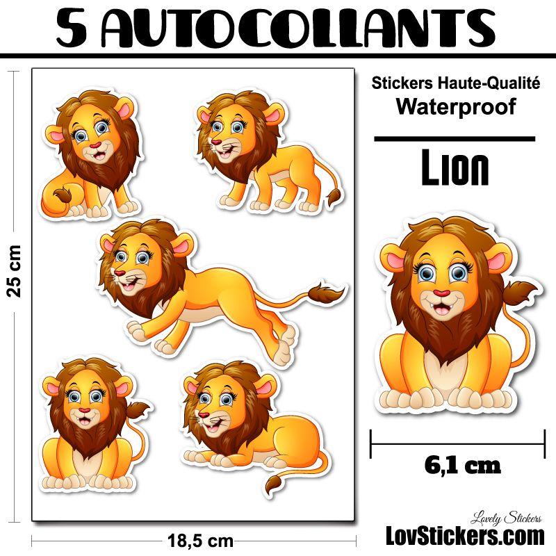 5 Autocollants de Lion