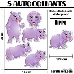 5 Autocollants d'hippopotame