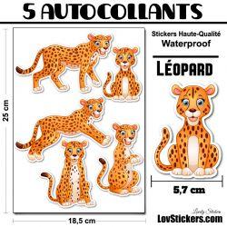 5 Autocollants Léopard