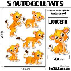 5 Autocollants Lionceau