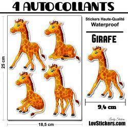 4 Autocollants Girafe