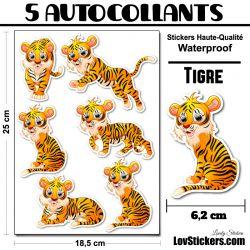 6 Autocollants Tigre