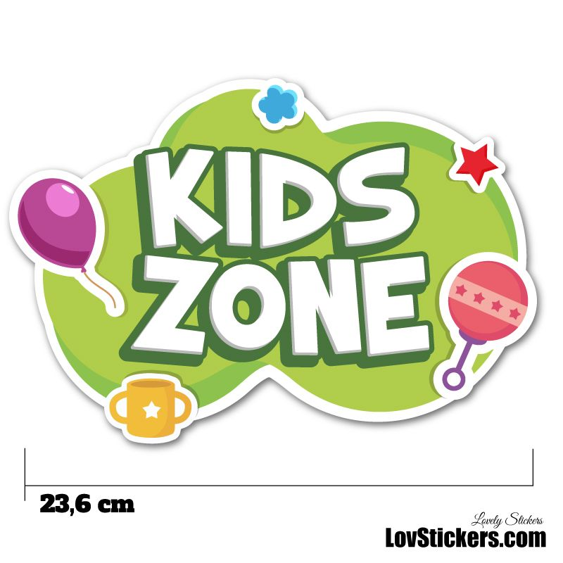 Stickers Porte Enfant - Kids Zone vert