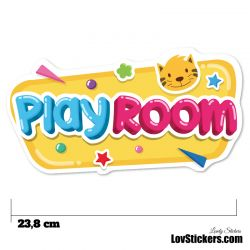 Stickers Porte Enfant - Play Room Jaune