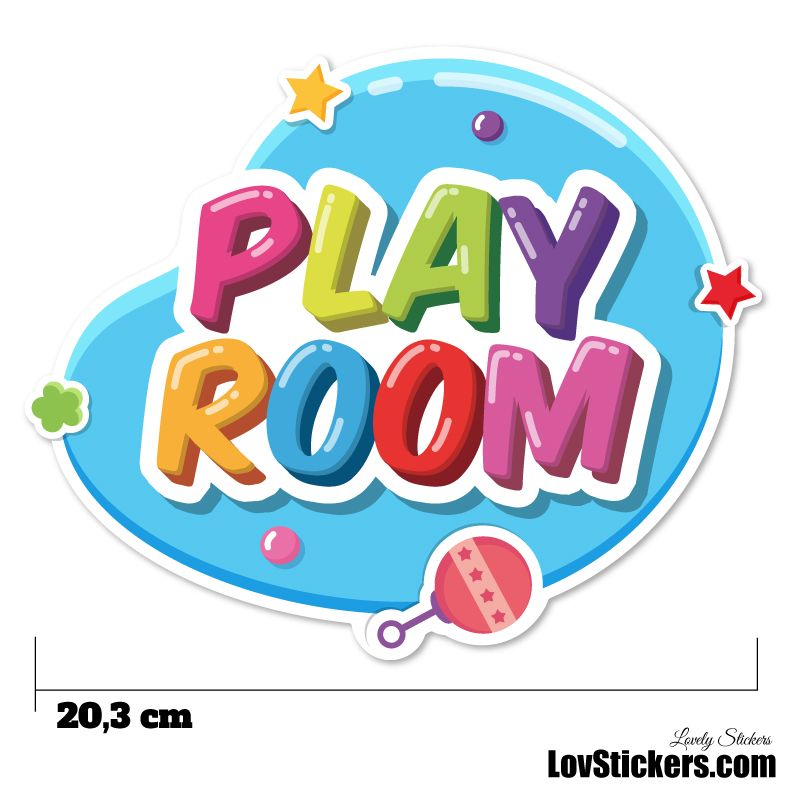 Stickers Porte Enfant - Play Room Bleu