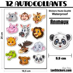 12 stickers Animaux