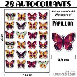 28 autocollants de papillons design