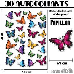 30 autocollants de papillons mixtes