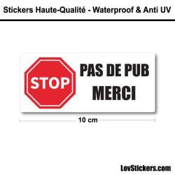 2 Stickers Stop Pub 8 cm pour boite aux lettres