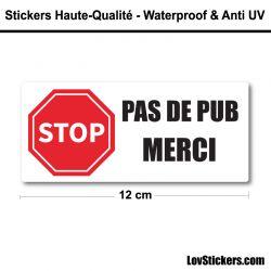 Sticker Stop Pub 12 cm pour boite aux lettres