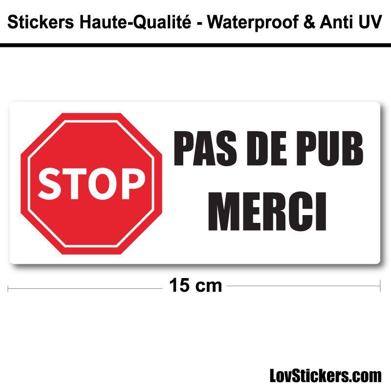 Sticker Stop Pub 15 cm pour boite aux lettres