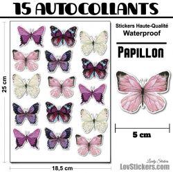 15 autocollants de papillons aquarelle