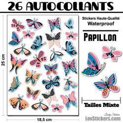 32 autocollants papillons et fleurs
