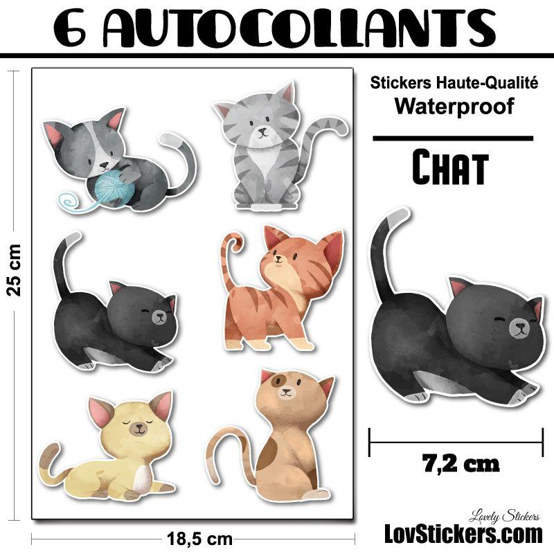 6 stickers de Chats pour la décoration