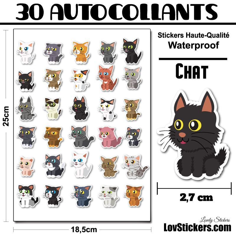 30 stickers de petits Chats 02