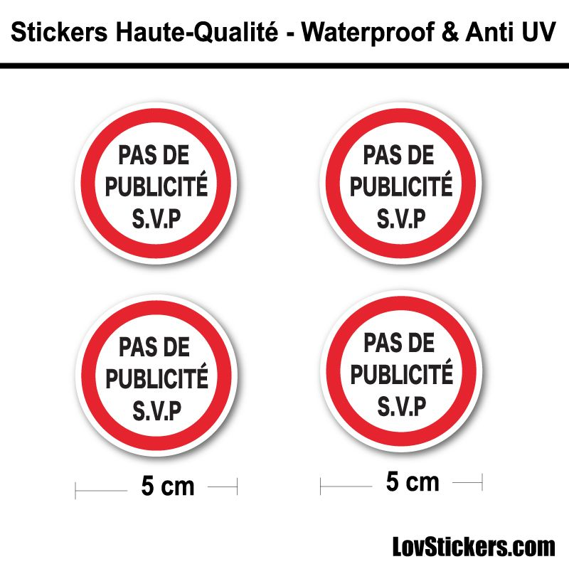 Sticker Pas de Pub 5 cm pour boite aux lettres