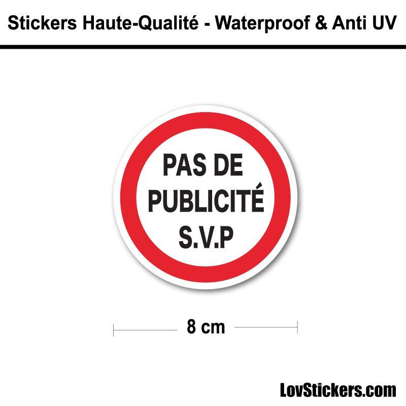 Sticker Pas de Publicité 8 cm pour boite aux lettres