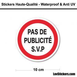Sticker Pas de Publicité 10 cm pour boite aux lettres