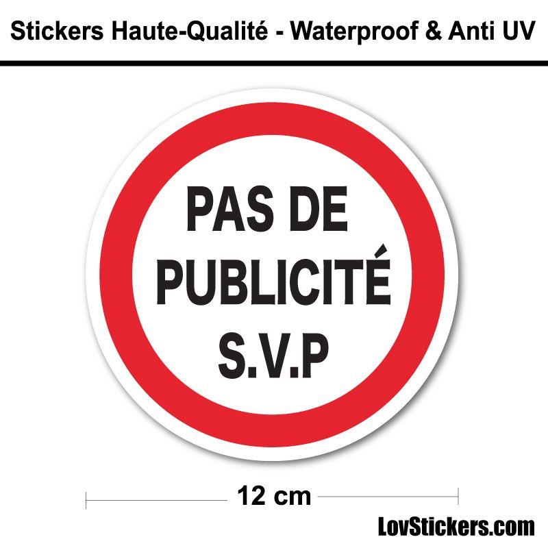 Sticker Pas de Publicité 12 cm pour boite aux lettres