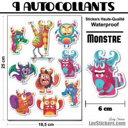 9 Autocollants de Monstres Mignons 01