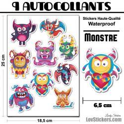 9 Autocollants de Monstres Mignons 02