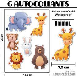 6 Autocollants d'Animaux Aquarelle