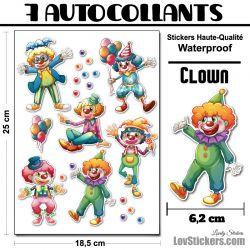 7 Autocollants de Clown