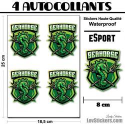 4 Stickers eSport Hippocampe